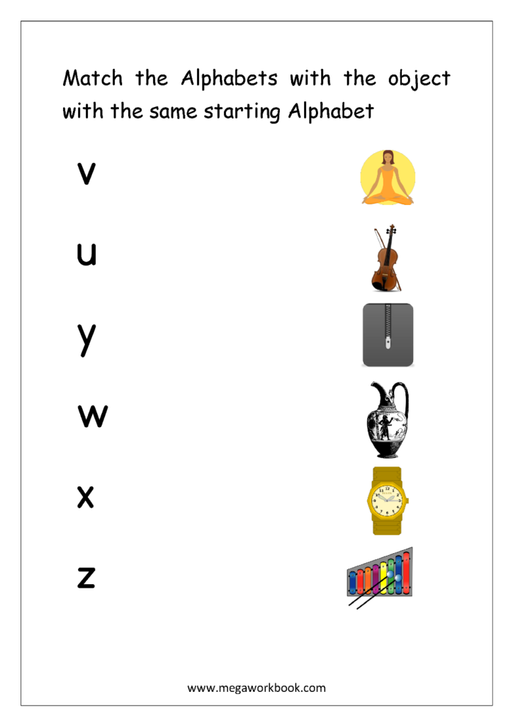 Free English Worksheets   Alphabet Matching   Megaworkbook For Alphabet Matching Worksheets For Kindergarten Pdf