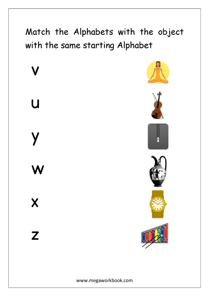 Free English Worksheets   Alphabet Matching   Megaworkbook For Alphabet Matching Worksheets For Kindergarten Pdf