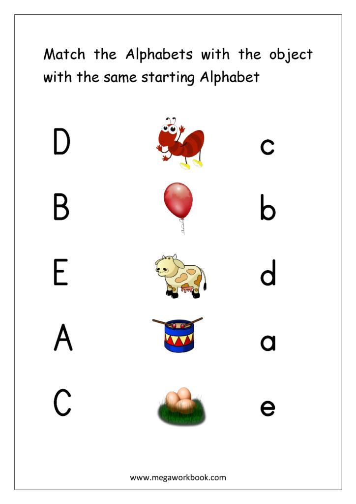 Free English Worksheets   Alphabet Matching   Megaworkbook For Alphabet Matching Worksheets With Pictures