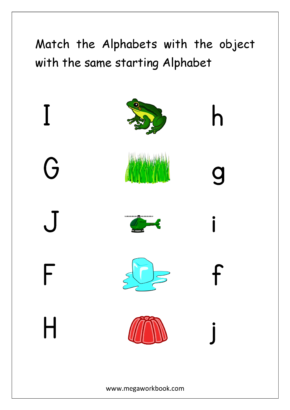 Free English Worksheets - Alphabet Matching - Megaworkbook inside Alphabet Matching Worksheets For Kindergarten Pdf