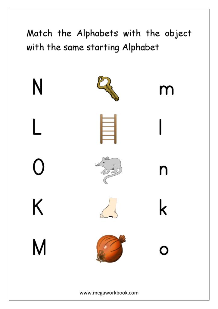 Free English Worksheets   Alphabet Matching   Megaworkbook Inside Alphabet Matching Worksheets For Pre K