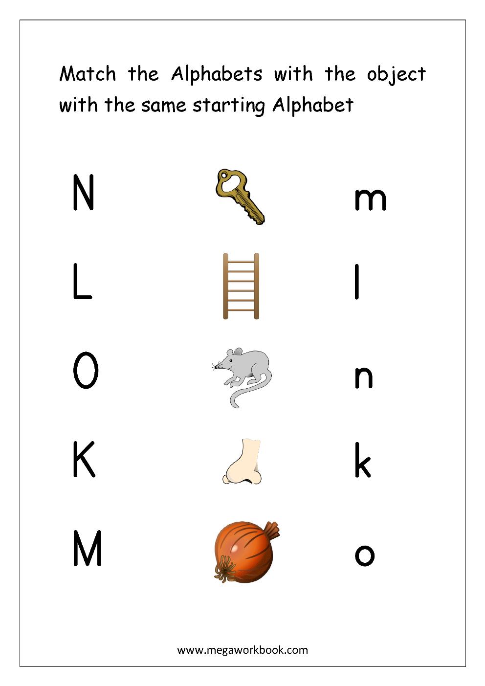 Free English Worksheets - Alphabet Matching - Megaworkbook inside Alphabet Matching Worksheets For Pre-K