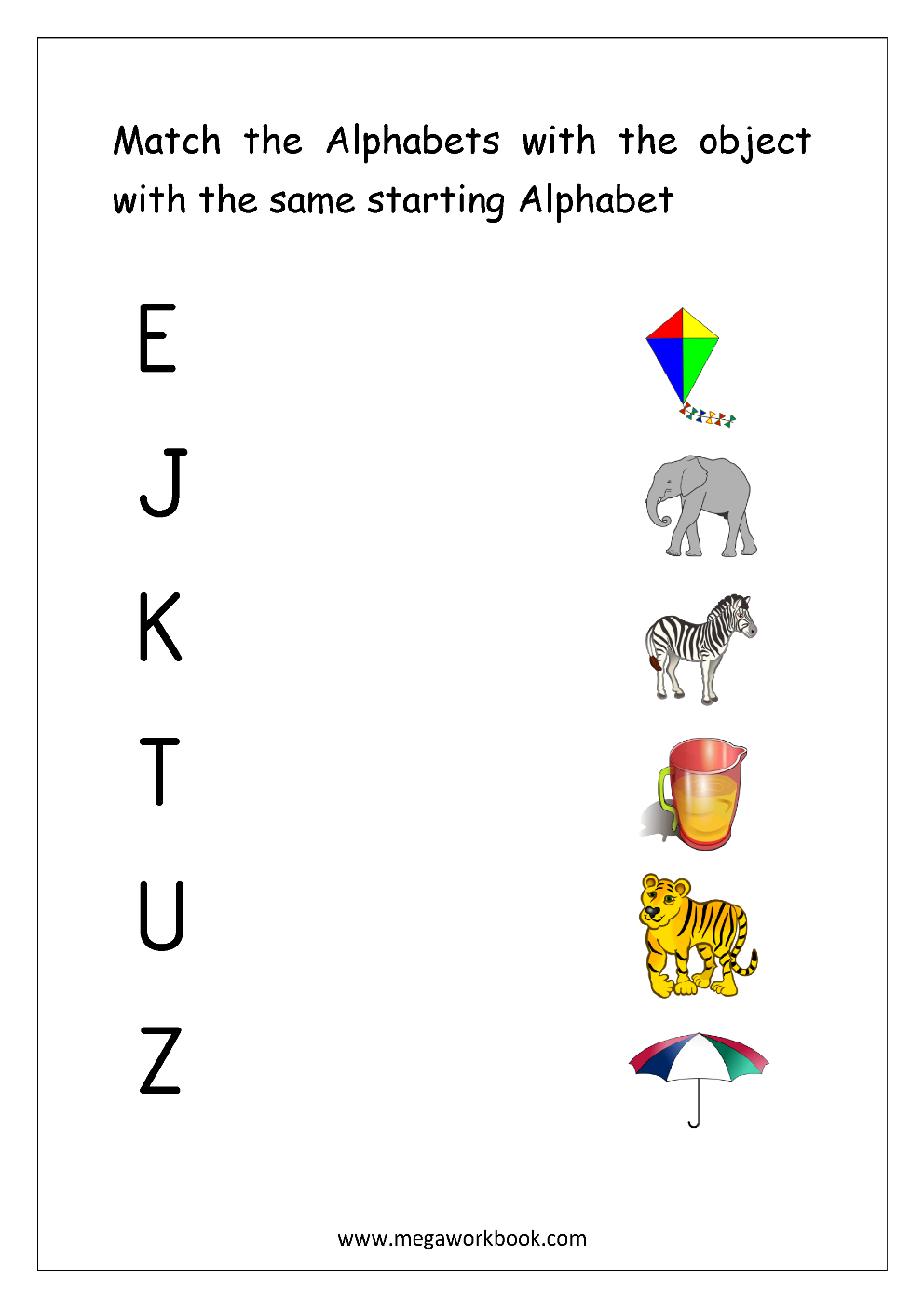 Free English Worksheets - Alphabet Matching - Megaworkbook intended for Alphabet Matching Worksheets With Pictures