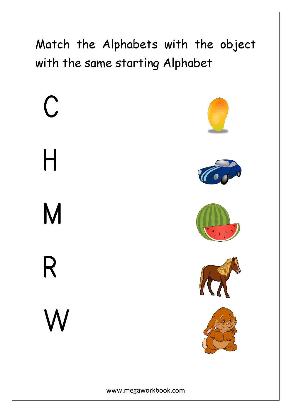 Free English Worksheets - Alphabet Matching - Megaworkbook regarding Alphabet Matching Worksheets For Kindergarten