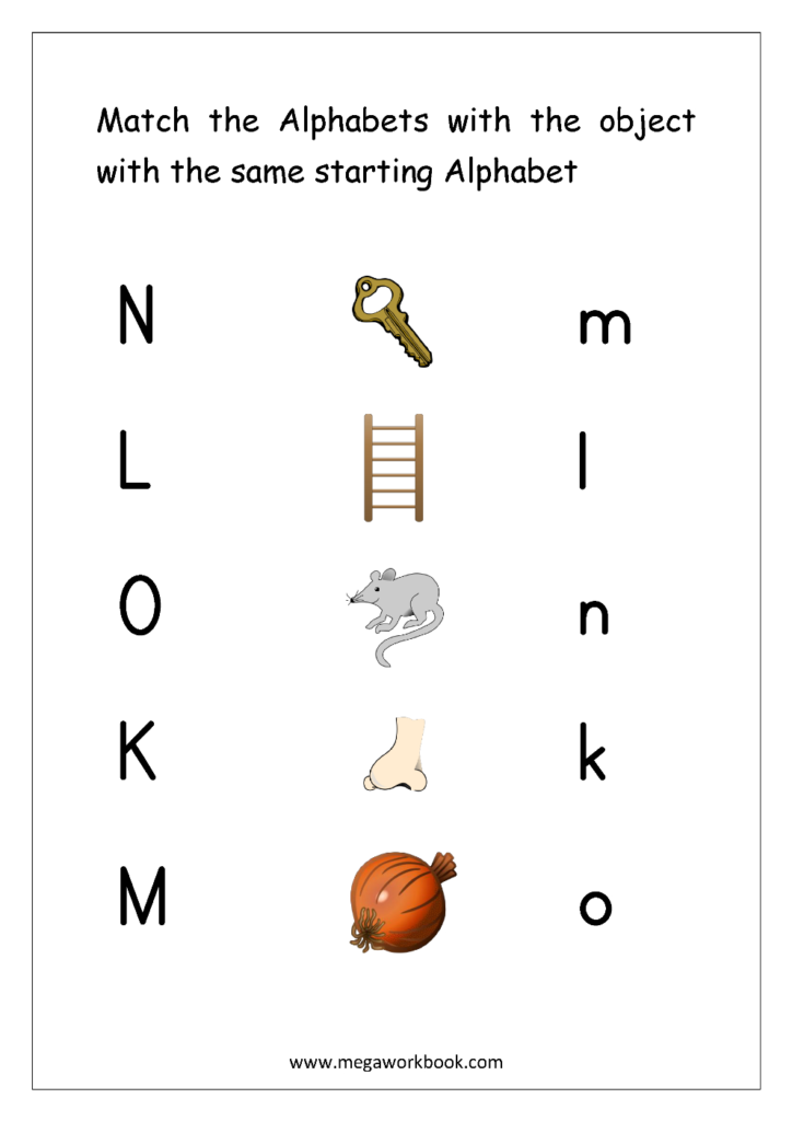 Free English Worksheets   Alphabet Matching   Megaworkbook Within Alphabet Knowledge Worksheets