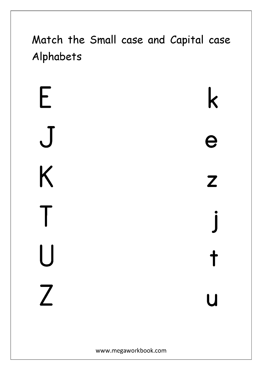 Free English Worksheets - Alphabet Matching - Megaworkbook within Alphabet Matching Worksheets For Kindergarten Pdf
