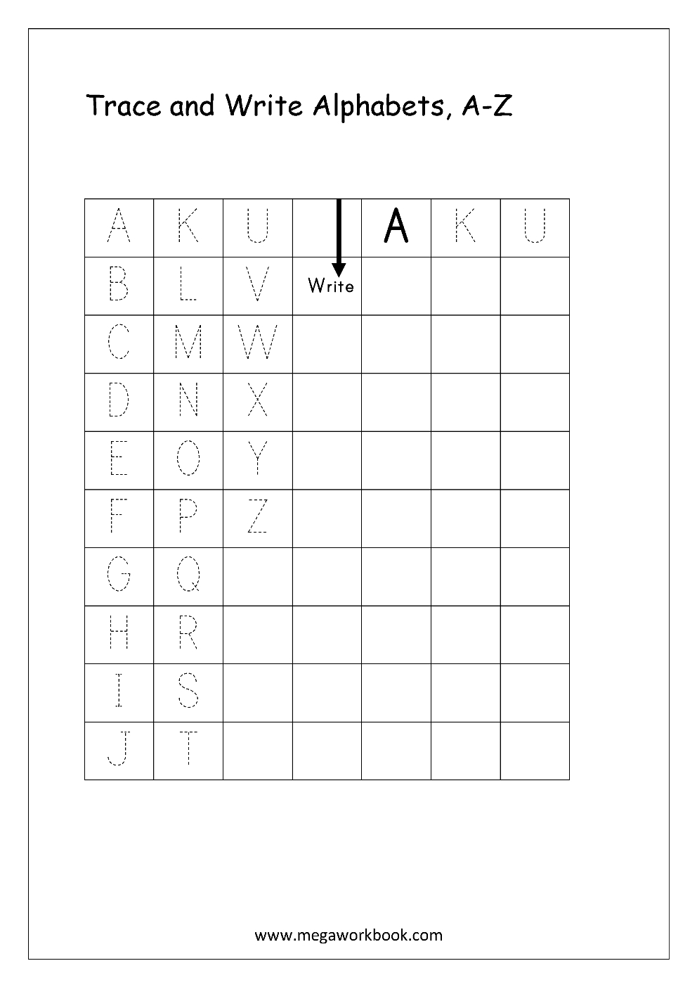 Free English Worksheets - Alphabet Writing (Capital Letters for Alphabet Tracing Notebook