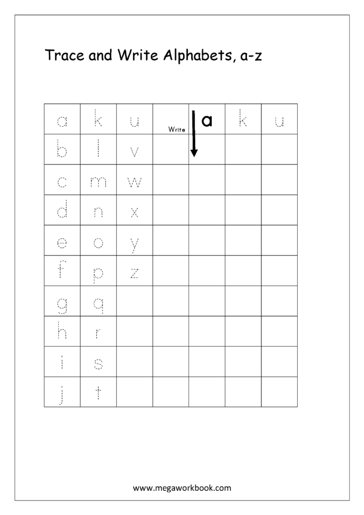 Free English Worksheets   Alphabet Writing (Small Letters Inside 4 Line Alphabet Worksheets
