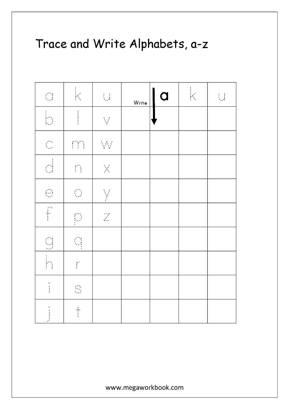 Free English Worksheets - Alphabet Writing (Small Letters inside 4 Line Alphabet Worksheets