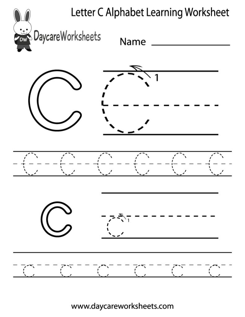 Free Letter C Alphabet Learning Worksheet For Preschool Intended For Letter C Worksheets For Preschool Pdf