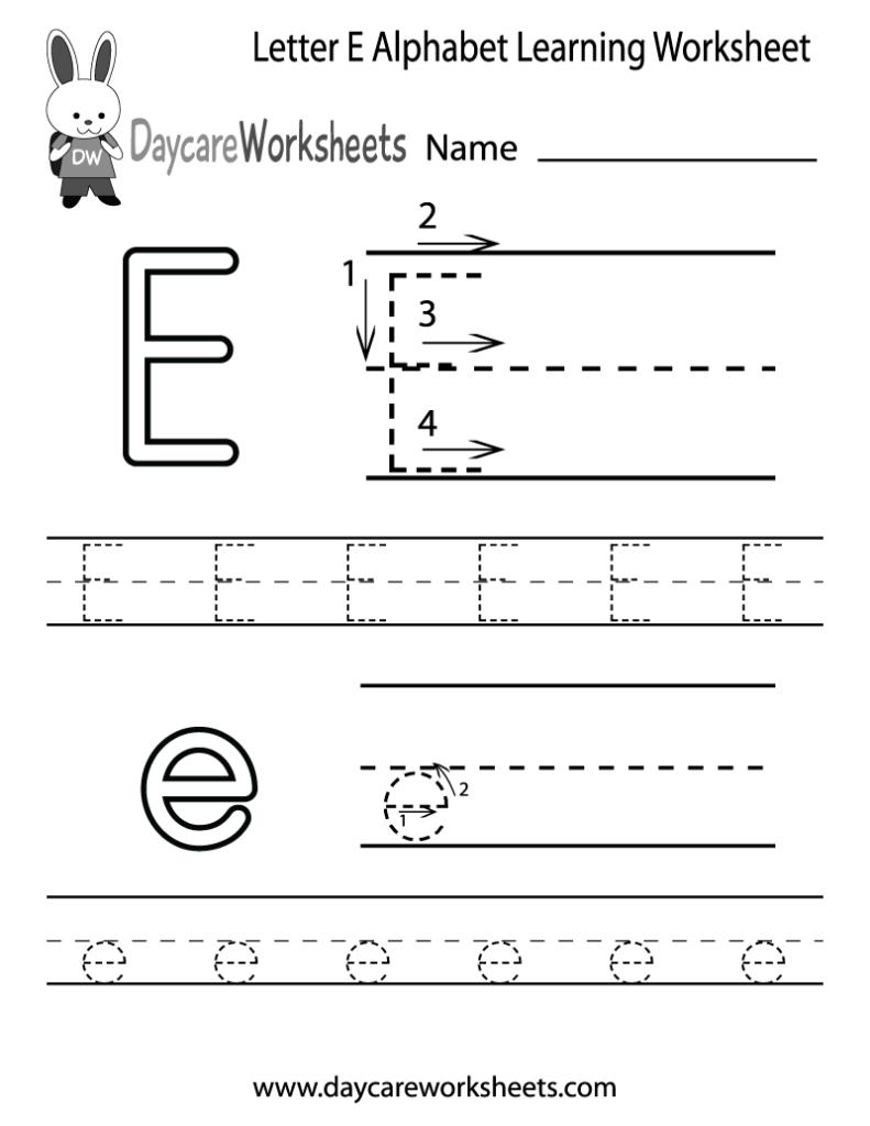 Free Letter E Alphabet Learning Worksheet For Preschool For Letter E Worksheets Pdf