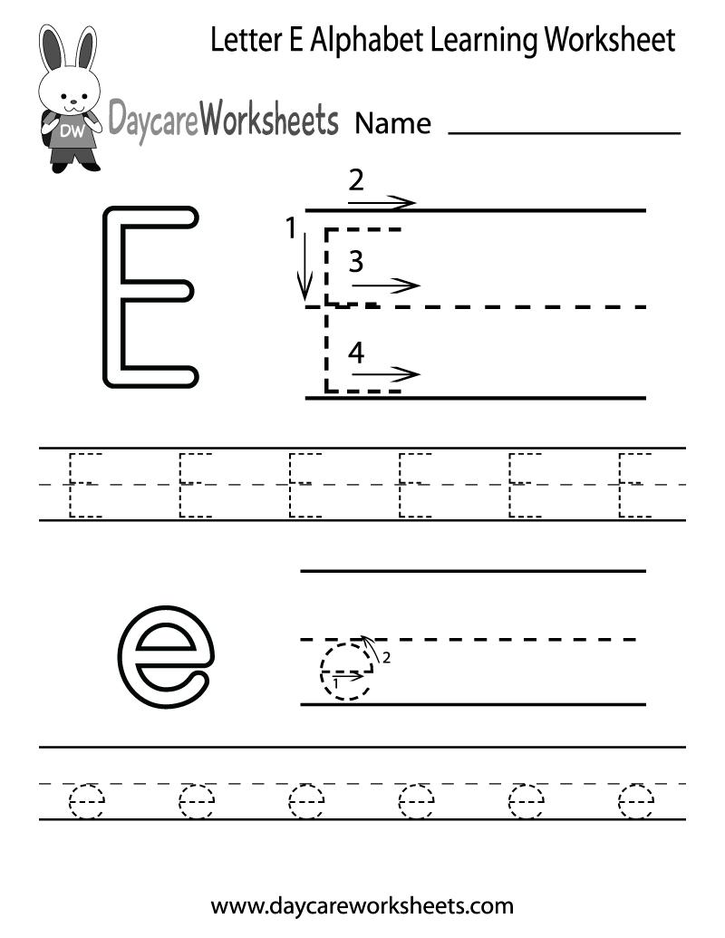 Free Letter E Alphabet Learning Worksheet For Preschool regarding Letter E Worksheets Tracing