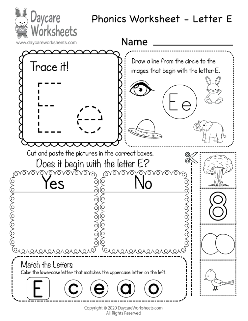 Free Letter E Phonics Worksheet For Preschool   Beginning Sounds In Letter E Worksheets Pdf