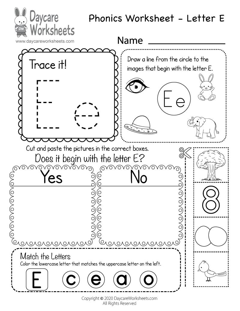 Free Letter E Phonics Worksheet For Preschool - Beginning Sounds in Letter E Worksheets Pdf