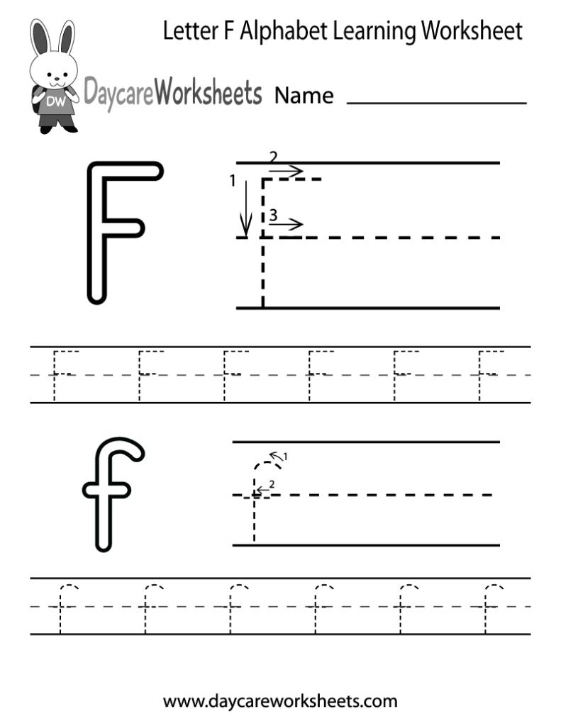 Free Letter F Alphabet Learning Worksheet For Preschool Regarding Letter F Tracing Preschool