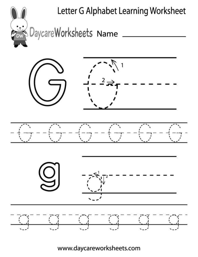 Free Letter G Alphabet Learning Worksheet For Preschool Intended For Letter G Tracing Sheet
