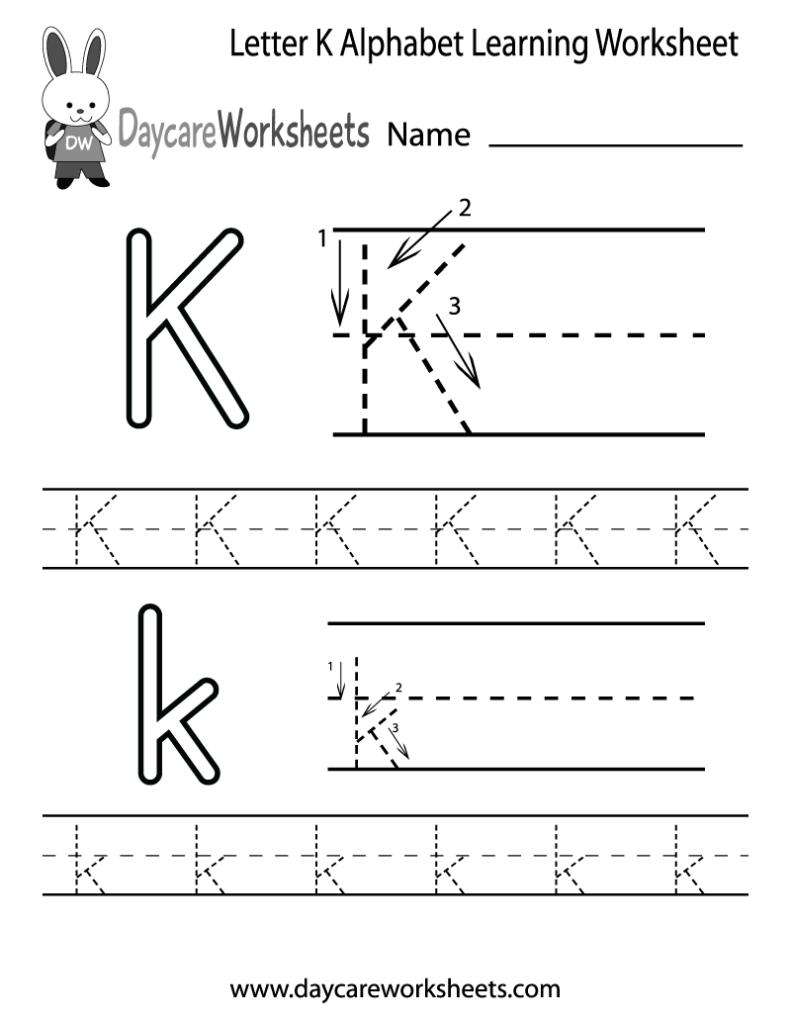 Free Letter K Alphabet Learning Worksheet For Preschool For K Letter Tracing