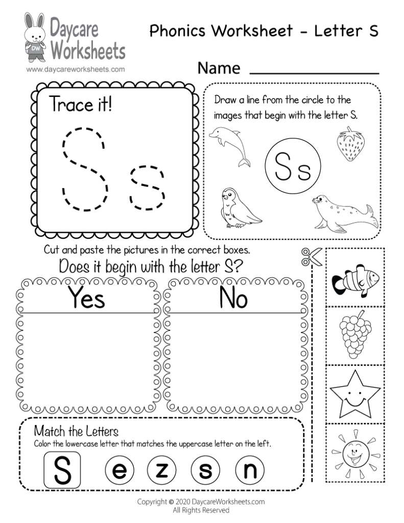 Free Letter S Phonics Worksheet For Preschool   Beginning Sounds With Letter F Worksheets Cut And Paste