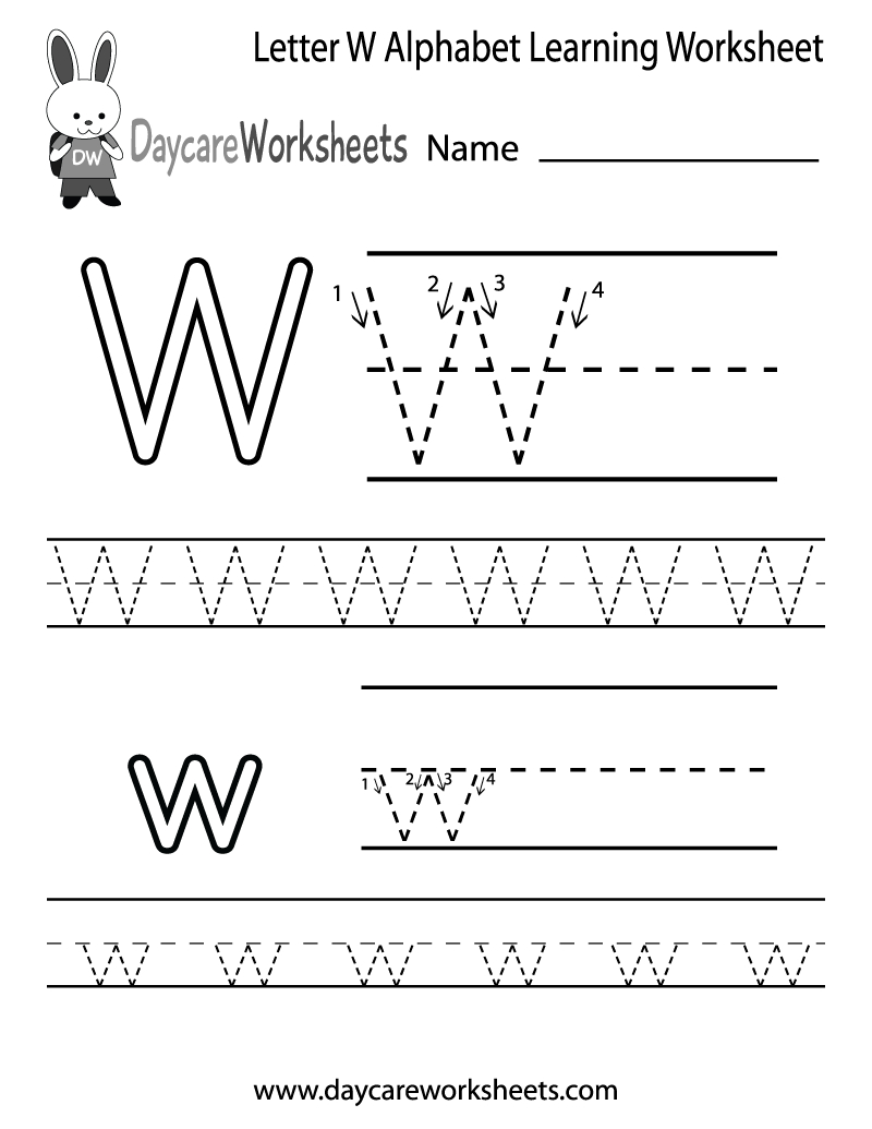 Free Letter W Alphabet Learning Worksheet For Preschool throughout Letter W Tracing Page