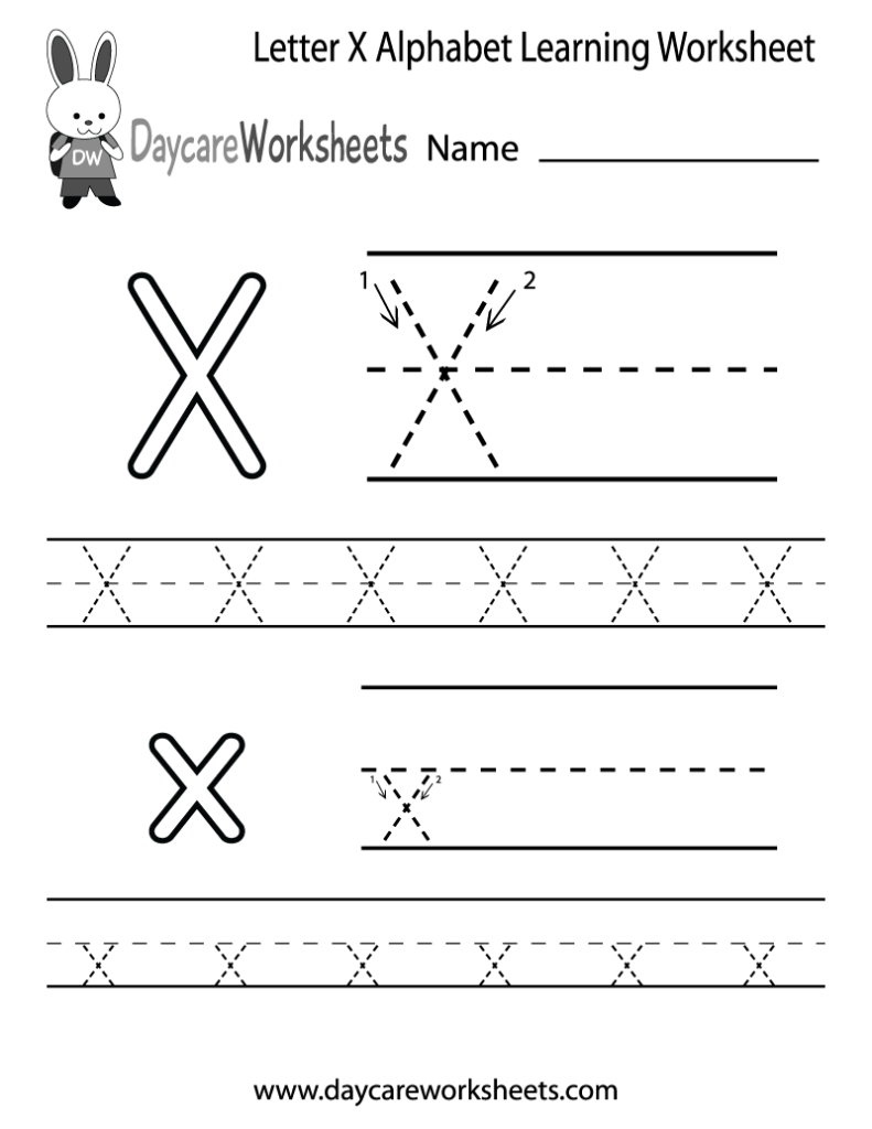Free Letter X Alphabet Learning Worksheet For Preschool In Preschool Alphabet X Worksheets