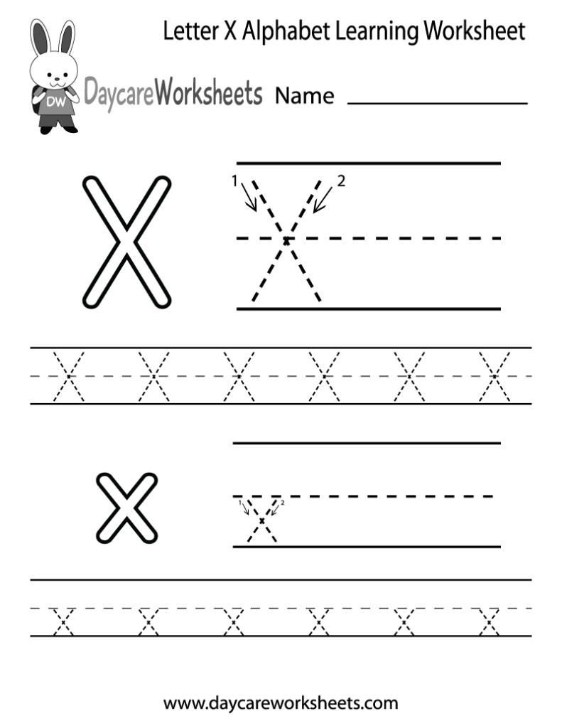 Free Letter X Alphabet Learning Worksheet For Preschool Pertaining To Letter X Worksheets Pdf