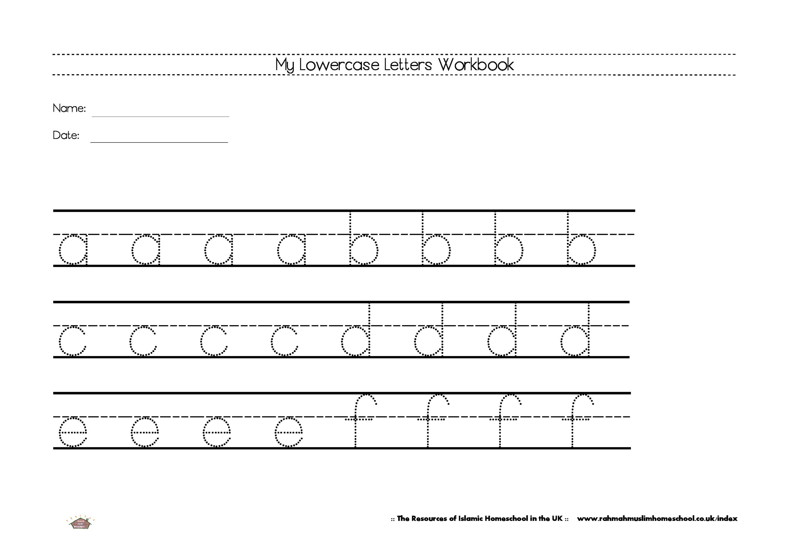 Free Lowercase Letters Worksheets | The Resources Of Islamic inside Name Tracing Worksheets Uk
