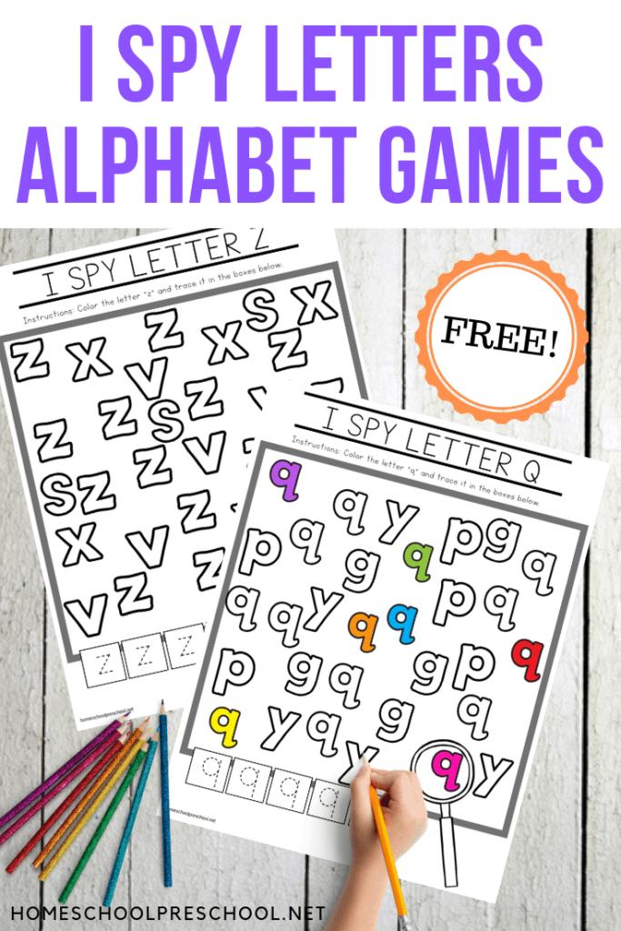 Free Printable Alphabet Worksheets For Preschoolers Inside I Spy Alphabet Worksheets