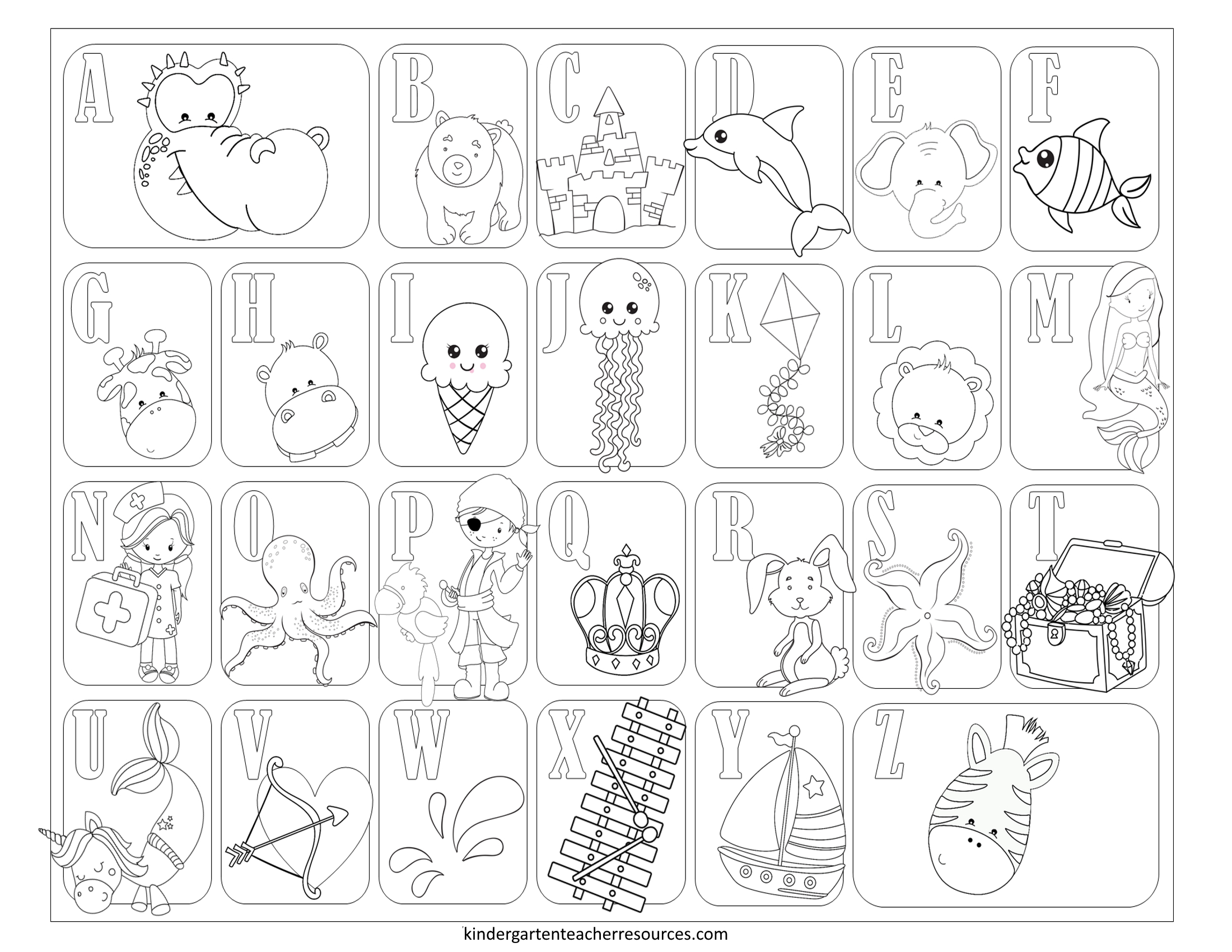 Free Printable Coloring Pages For Kindergarten in Alphabet Coloring Worksheets For Kindergarten