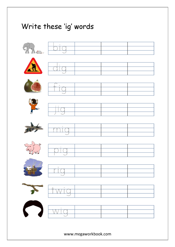 Free Printable Cvc Words Writing Worksheets For Kids   Three In 3 Letter Worksheets