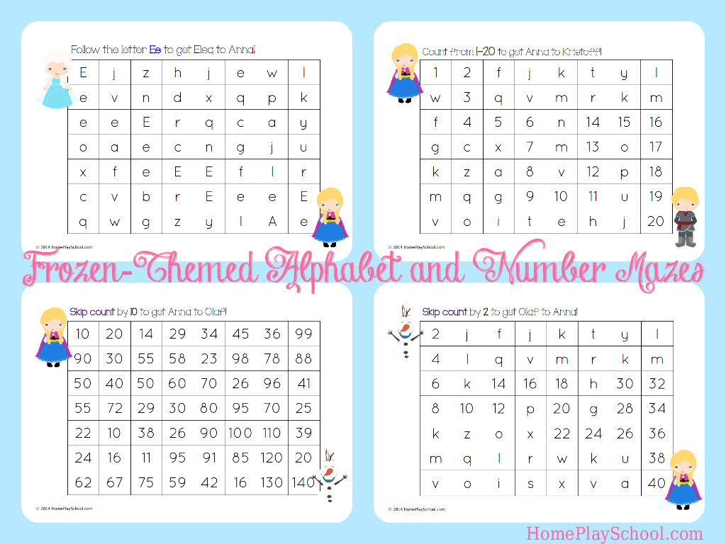 Free Printable: Frozen-Themed Alphabet And Number Mazes in Alphabet Worksheets Maze