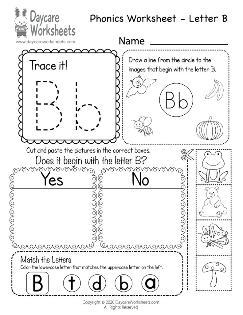 Free Printable Letter B Beginning Sounds Phonics Worksheet In Letter B Worksheets Free Printables