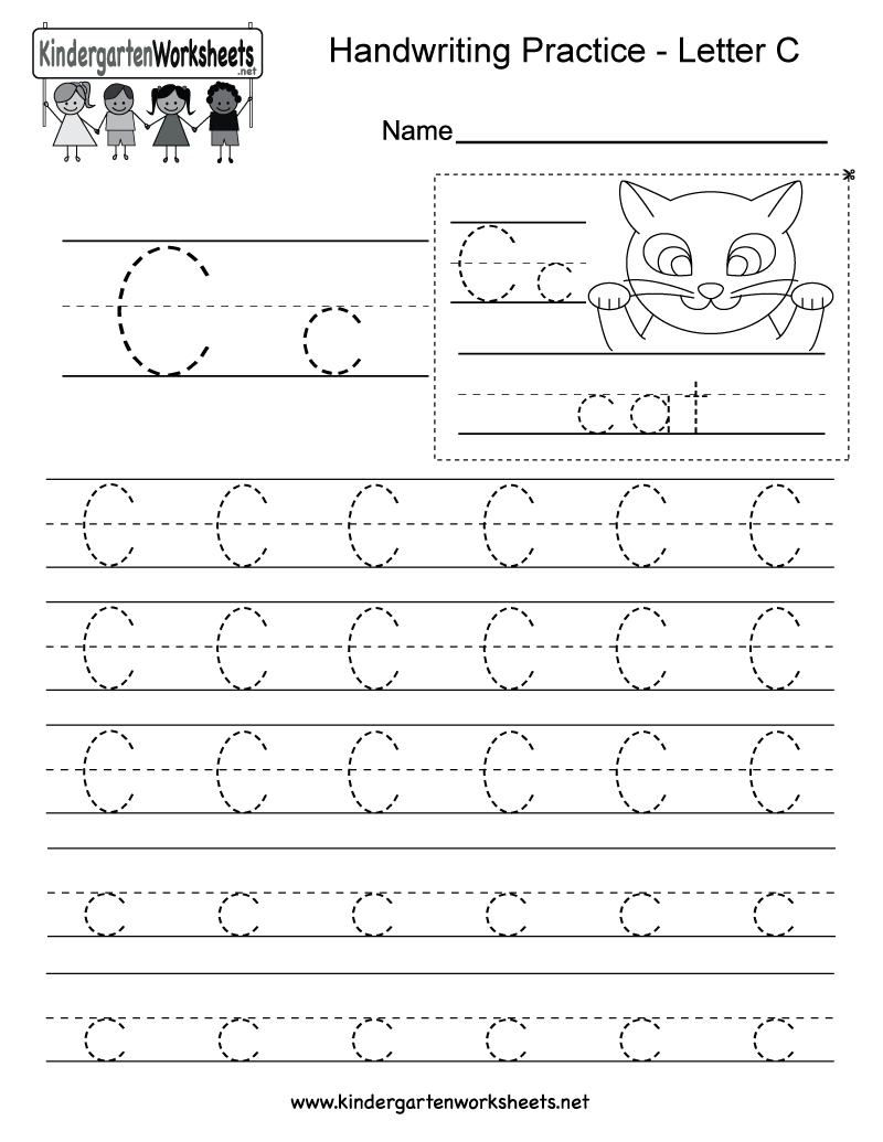 Free Printable Letter C Writing Practice Worksheet For in C Letter Worksheets