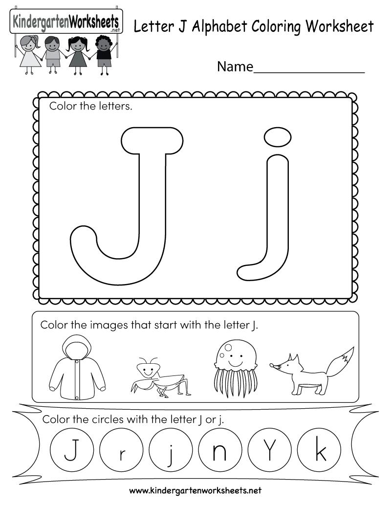 Free Printable Letter J Coloring Worksheet For Kindergarten within Letter J Worksheets Printable