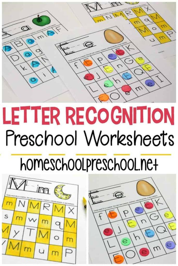 Free Printable Letter Recognition Worksheets For Preschoolers Intended For Alphabet Recognition Worksheets