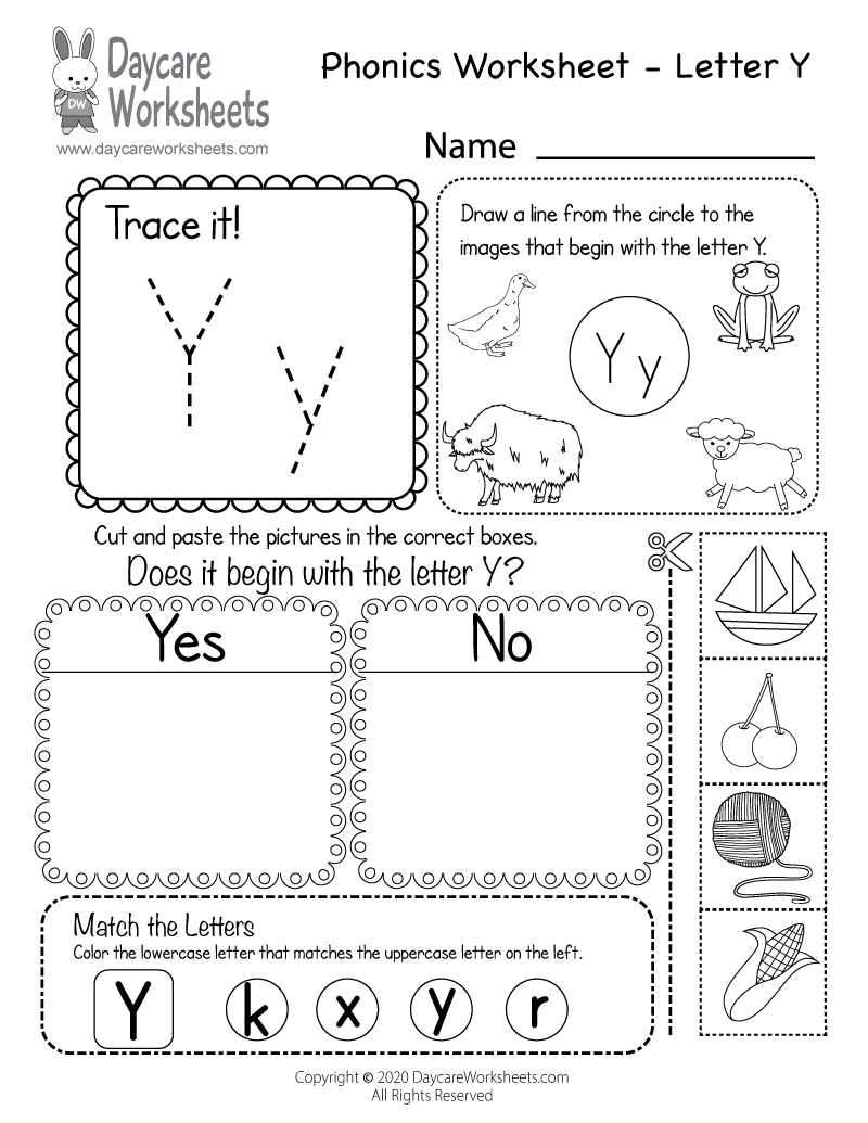 Free Printable Letter Y Beginning Sounds Phonics Worksheet inside Letter Y Worksheets Printable