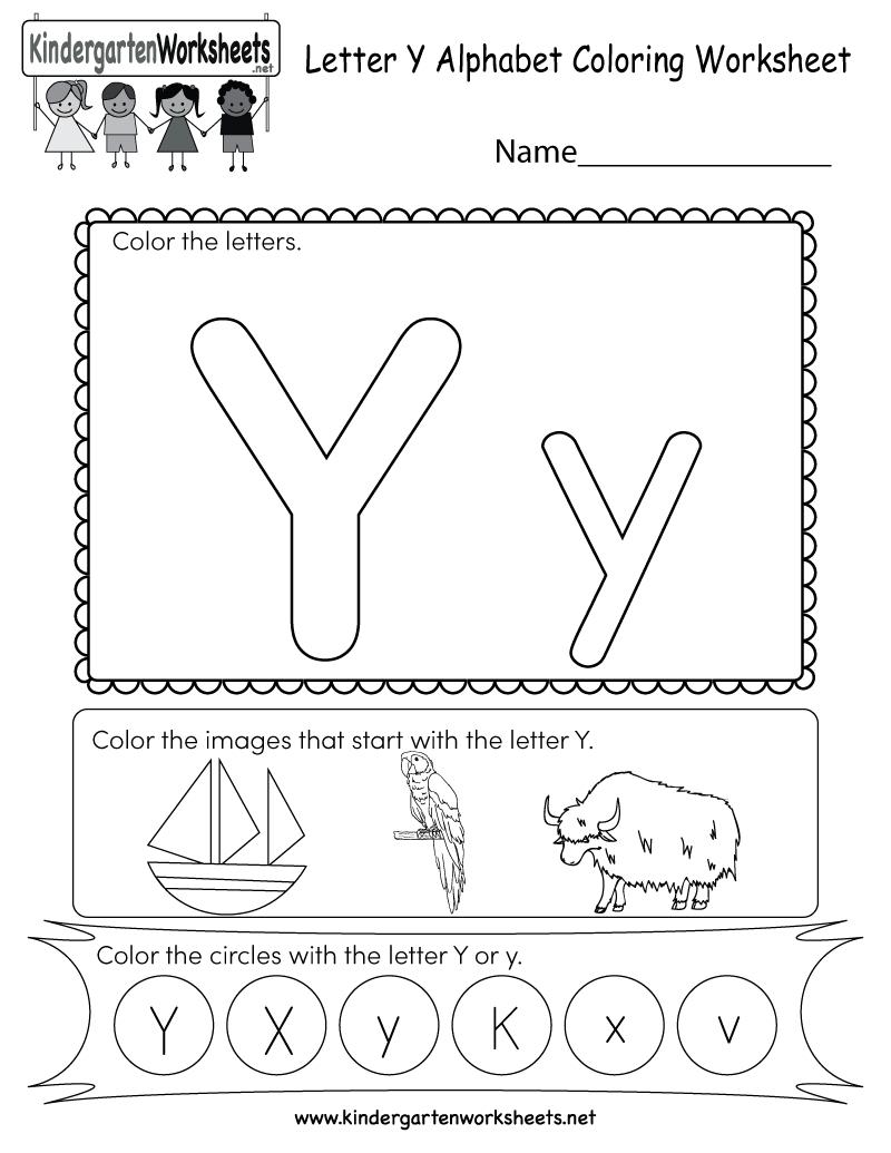 Free Printable Letter Y Coloring Worksheet For Kindergarten in Letter Y Worksheets Printable