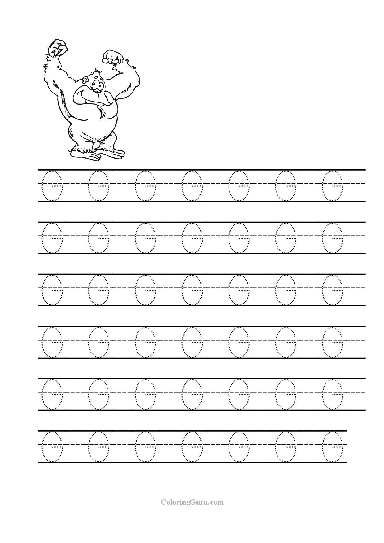 Free Printable Tracing Letter G Worksheets For Preschool within Letter G Worksheets For Pre K