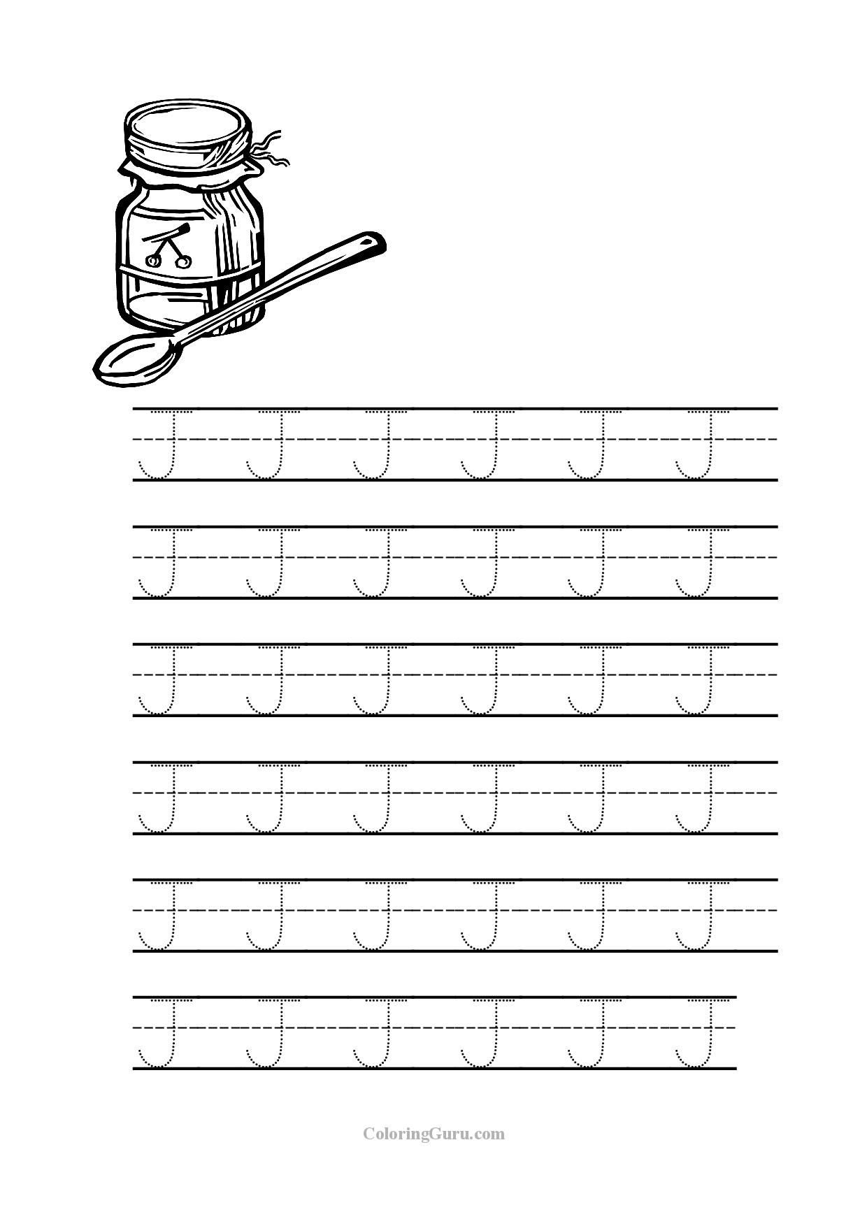 Free Printable Tracing Letter J Worksheets For Preschool pertaining to Tracing Letter J Preschool