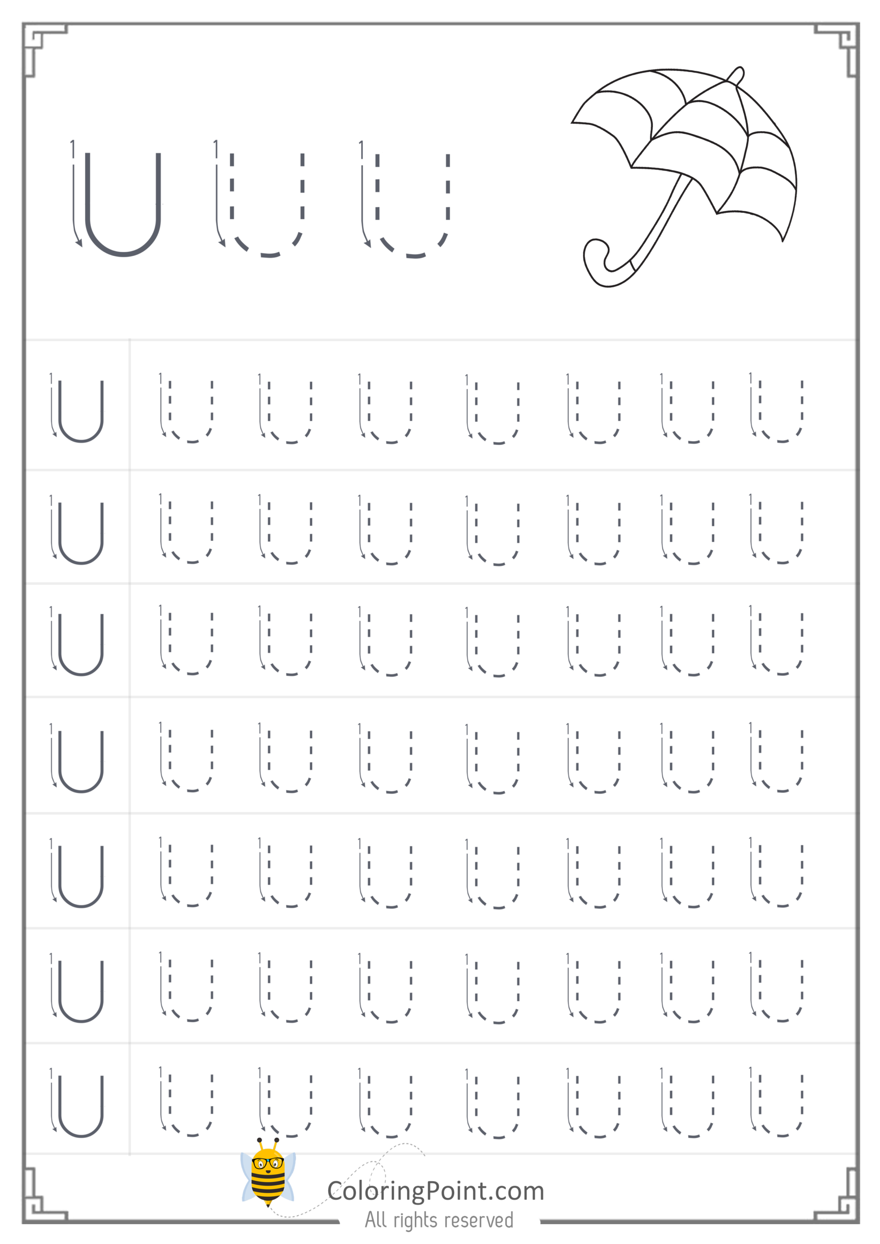 Free Printable Tracing Letter U Worksheets Preschool pertaining to Letter U Tracing Page