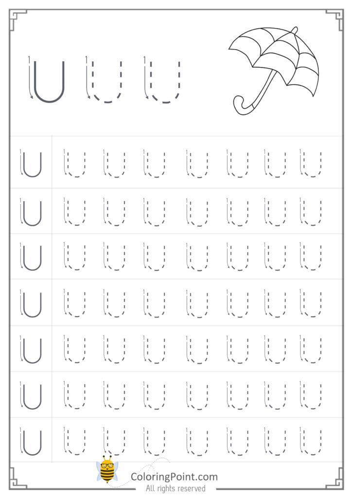 Free Printable Tracing Letter U Worksheets Preschool Regarding Tracing Alphabet U