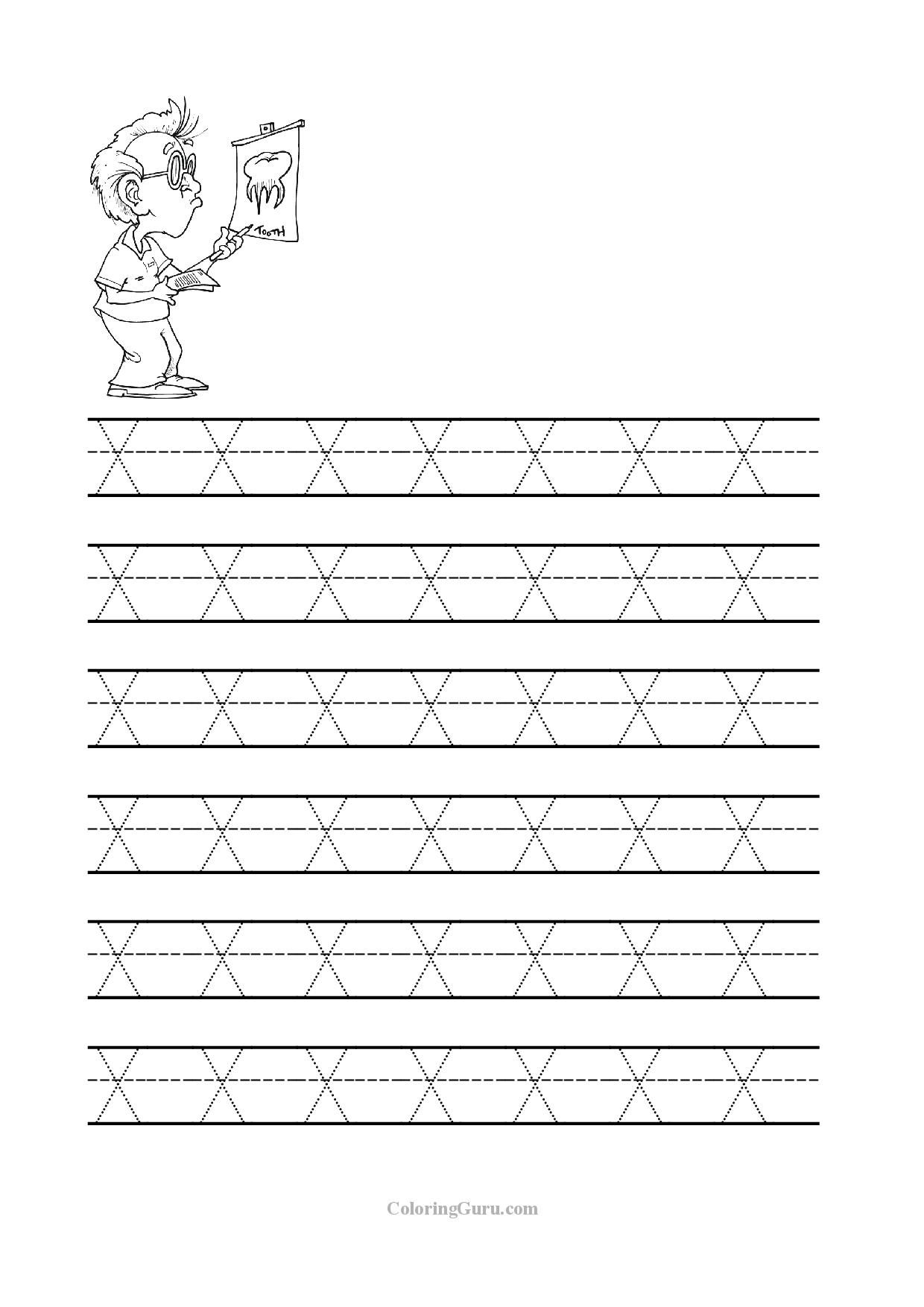 Free Printable Tracing Letter X Worksheets For Preschool for Letter X Tracing Sheet