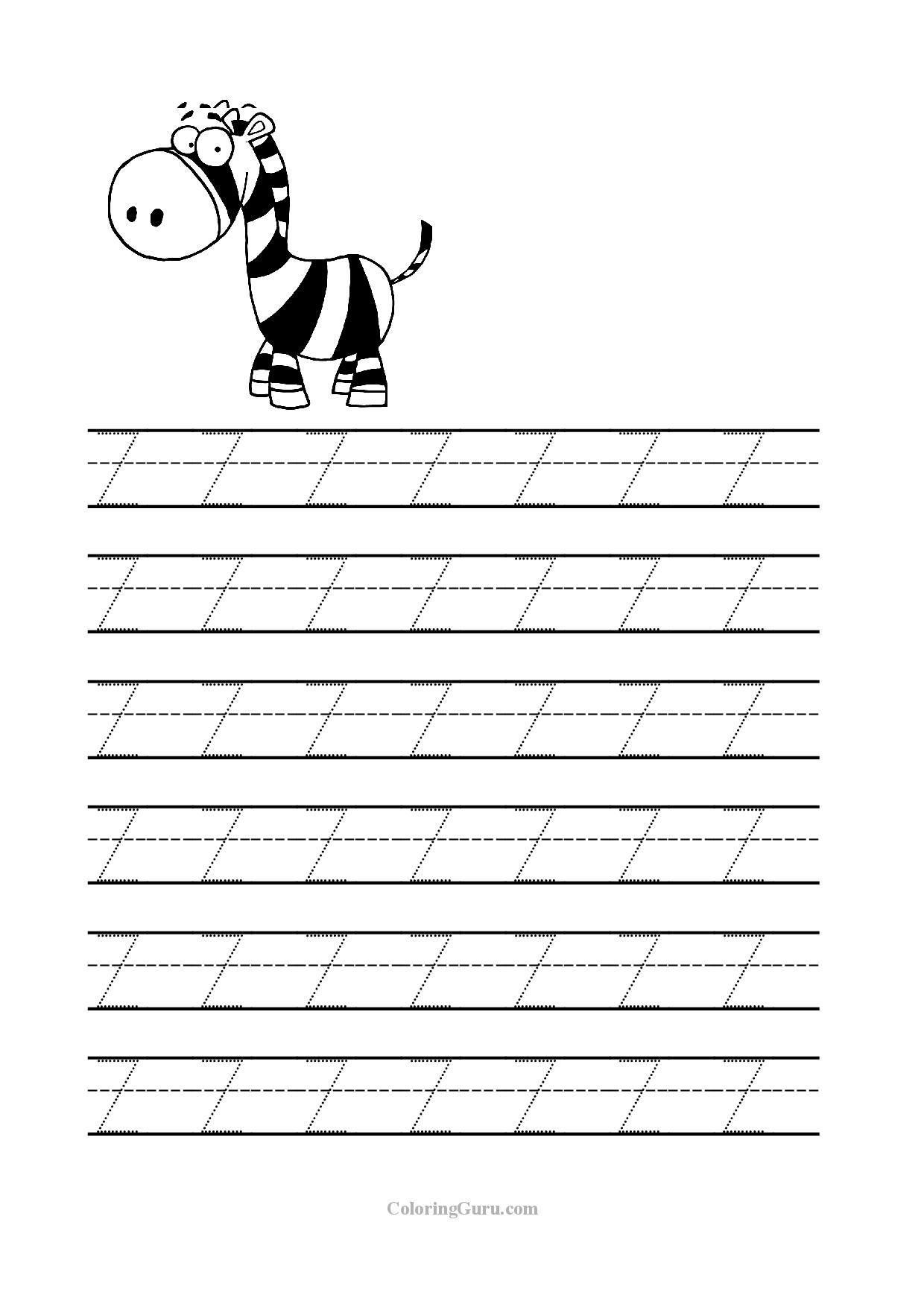 Free Printable Tracing Letter Z Worksheets For Preschool for Letter Z Worksheets For Prek
