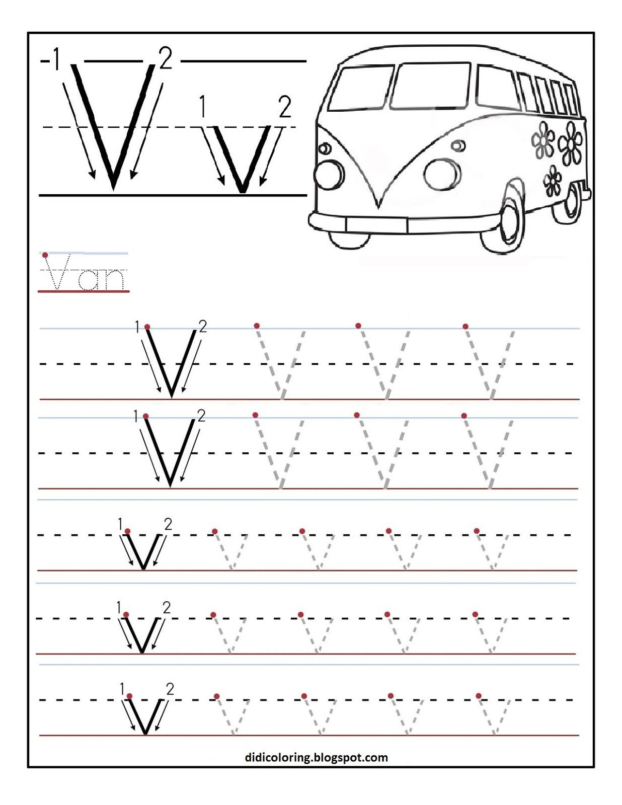 Free Printable Worksheet Letter V For Your Child To Learn throughout Letter V Tracing Worksheets For Preschool