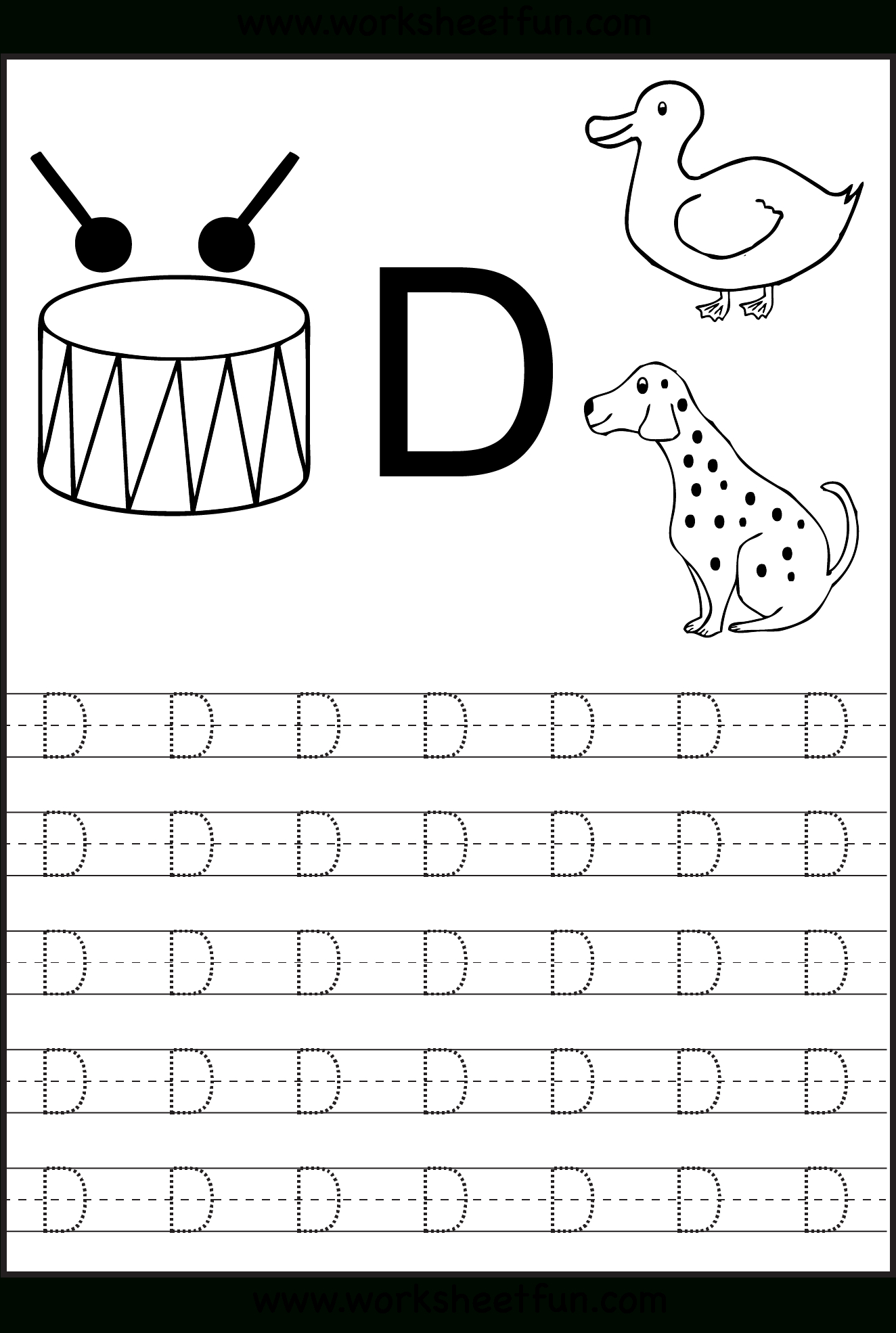 Free Printable Worksheets - Contents | Alphabet Tracing in Alphabet D Tracing Sheet