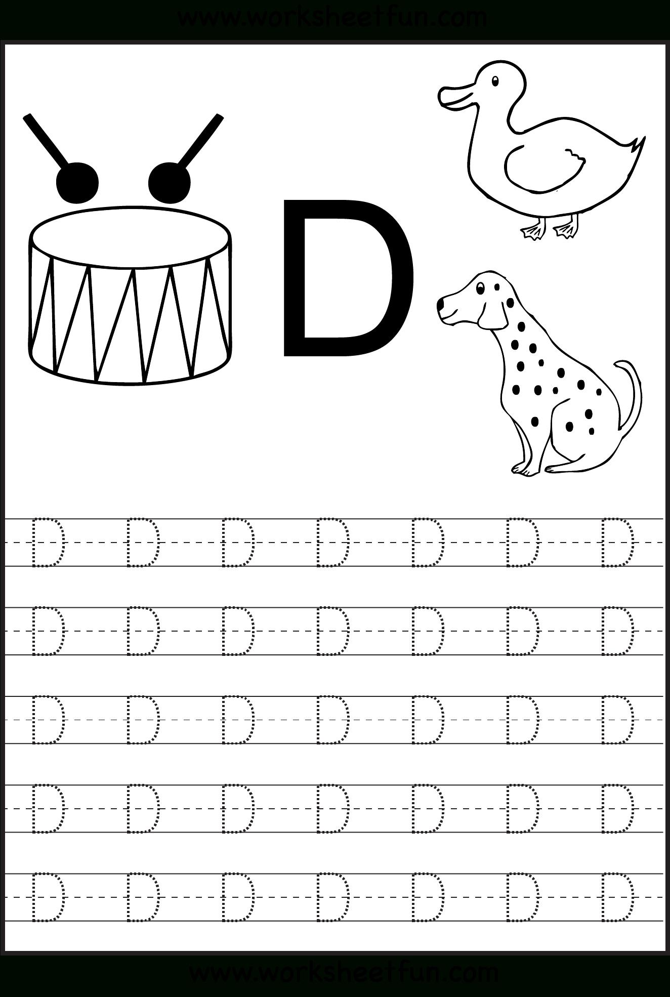 Free Printable Worksheets - Contents | Alphabet Tracing inside Alphabet Worksheets Letter D