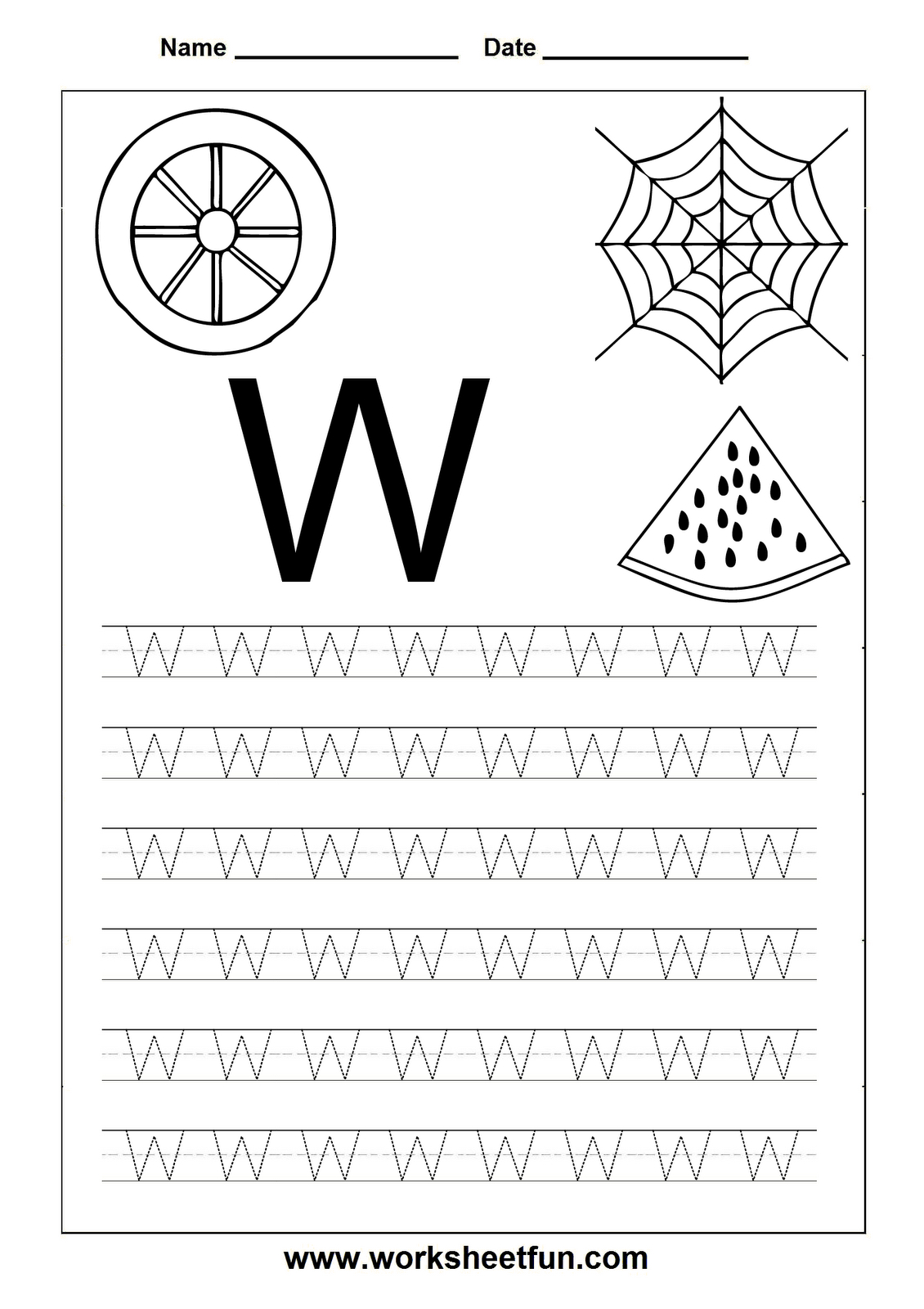 Free Printable Worksheets: Letter Tracing Worksheets For within Letter W Tracing Page