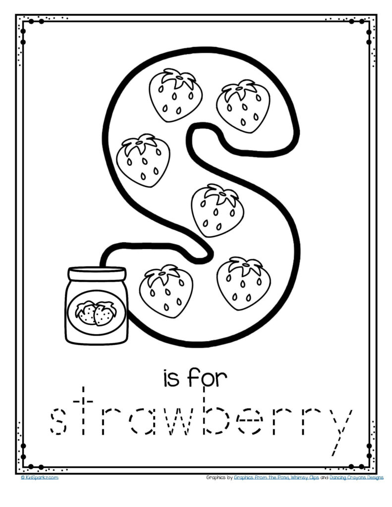 Free S Is For Strawberry Alphabet Letter Printable Throughout Letter S Worksheets Pdf