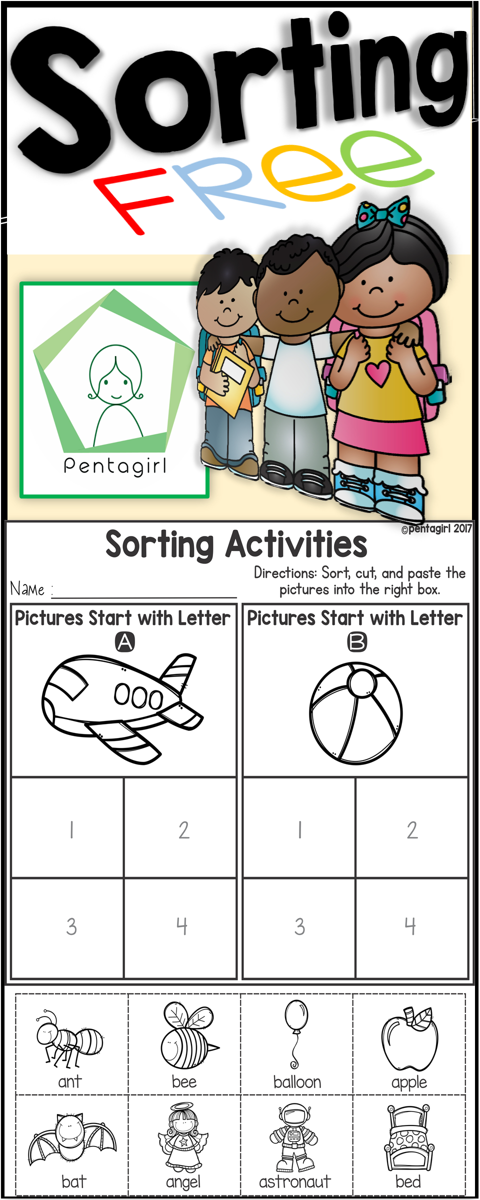 Free Sorting Activities Posters And Worksheets Alphabet A for Alphabet Sorting Worksheets