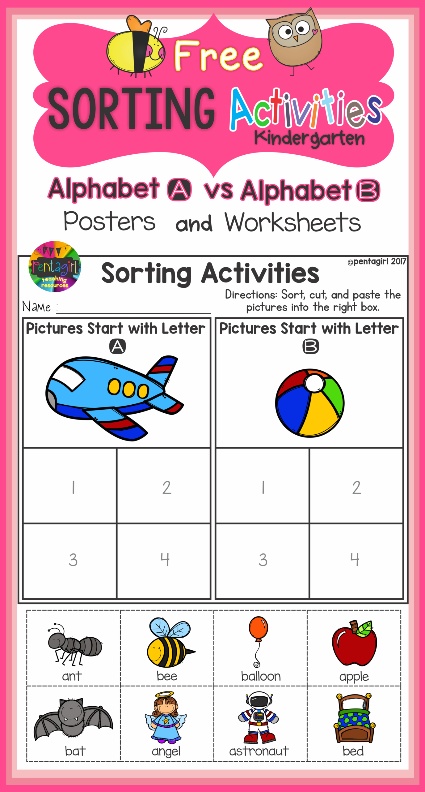 Free Sorting Activities Posters And Worksheets Alphabet A in Alphabet Sorting Worksheets