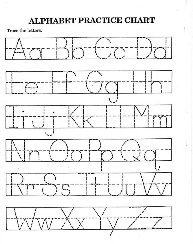 Free Traceable Alphabet Worksheets For Preschoolers Within Alphabet Worksheets A Z Pdf